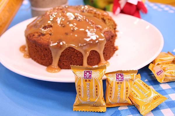 香蕉榛果蛋糕佐牛奶糖醬