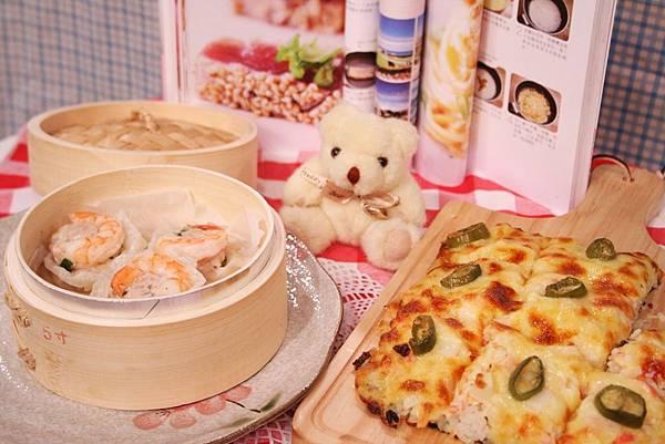 干貝壽司比薩+反轉蝦仁豆腐燒賣