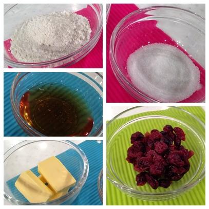 蜂蜜蔓越莓小餅 材料