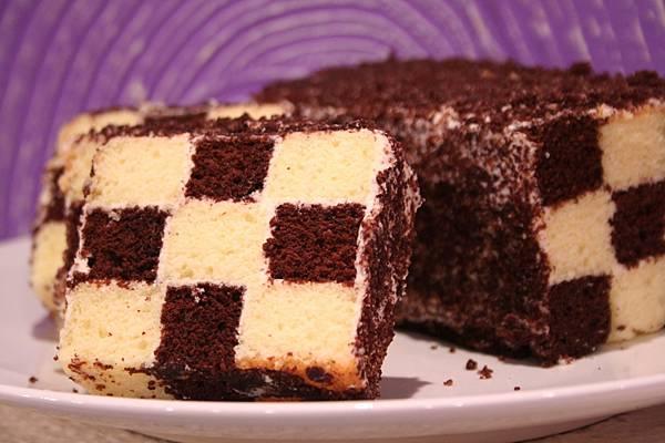 奶油棋格雙色蛋糕