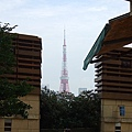 走過大蜘蛛、往展望台電梯搭乘口方向前行不久,左手邊的一處小露台缺口可遠窺東京鐵塔。.JPG