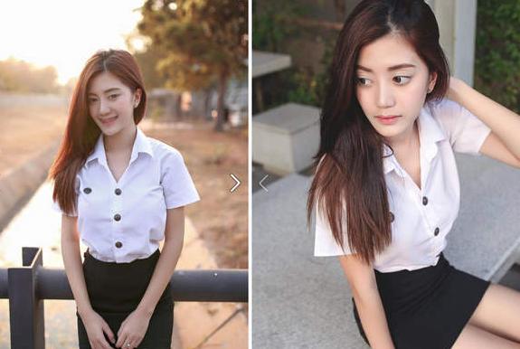 《泰國牙套妹》Nichapha Praew 學生服或黑色皮衣爆乳裝不管反差有多大我都愛|天下現金網|天下運動網