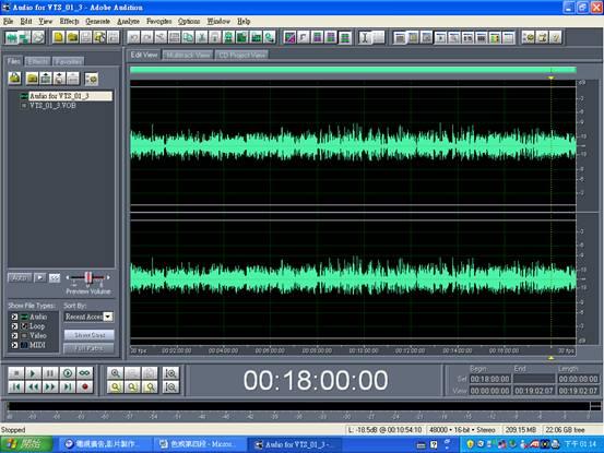 圖三: 電視卡通<<魔女薩賓娜中文配音>> 音軌波型。