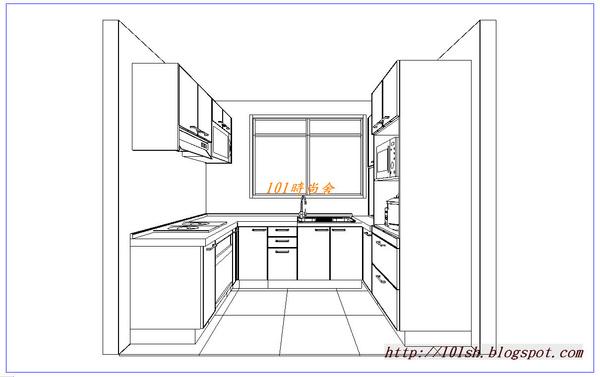 @101時尚舍  品味廚房 廚房設計  - 時尚系列 ~ㄇ字型   @品味生活-廚衛1