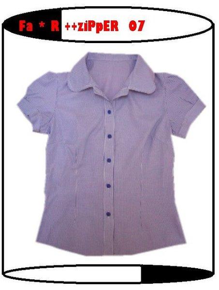 海軍風公主袖條紋襯衫