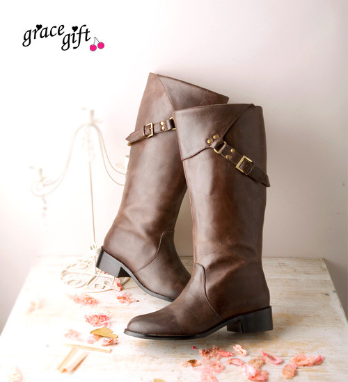 grace gift 咖啡色機車靴
