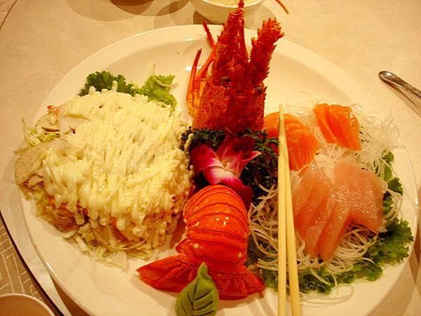 龍蝦沙拉拼生魚片