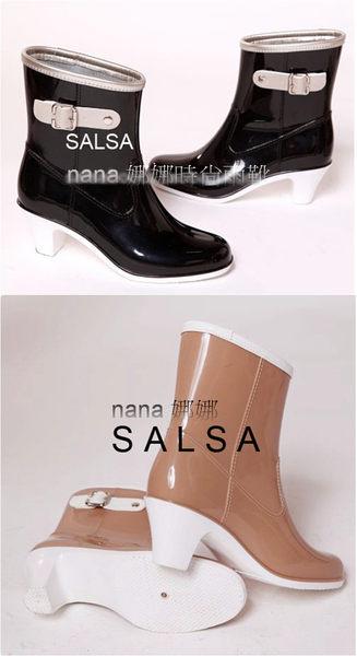 SALSA莎莎雨鞋雨靴低筒高跟日韓時尚側扣美靴