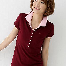 lativ,經典8釦POLO衫,酒紅M號