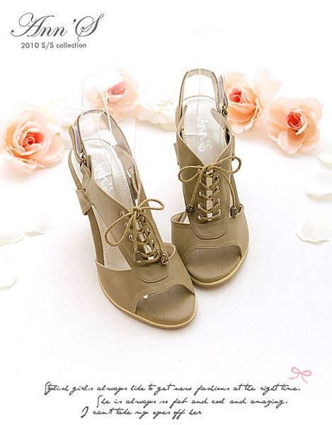 Ann'S性感休閒風韓系綁帶粗跟露趾涼鞋,杏