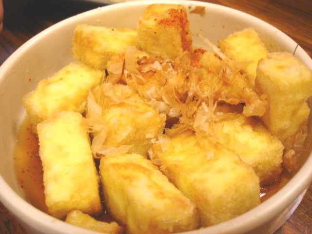 日式炸豆腐50元,老爸叫兩份,這是老弟的最愛!