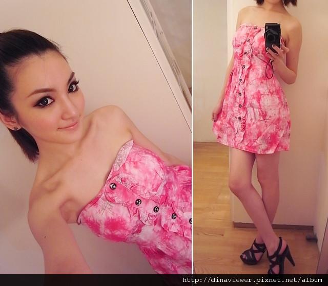桃紅渲染平口洋裝 出清特價$200.jpg
