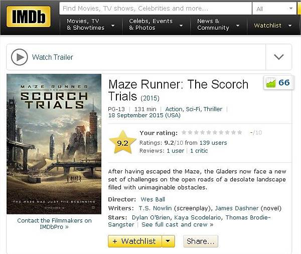 Movie, Maze Runner: The Scorch Trials / 移動迷宮:焦土試煉 / 移动迷宫:烧痕审判, IMDb, 150909
