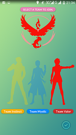App, Pokémon GO, 選陣營