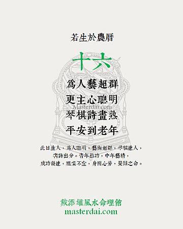農曆生日終生運程(十六)
