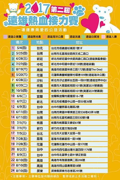 台北公益活動-2017遠雄第二屆公益捐血時程表