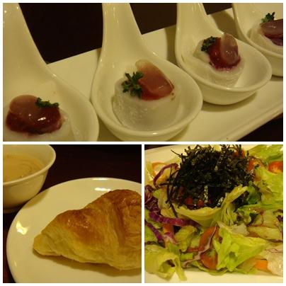 洋蔥濃湯+可頌+生菜沙拉+水晶甜點(可惜湯及麵包不夠熱).jpg