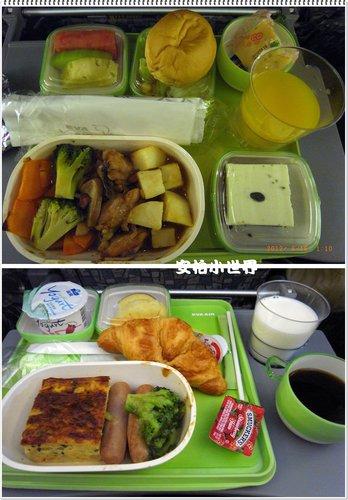 機上的晚餐與早餐