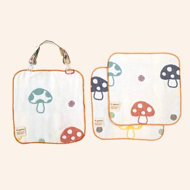 口水巾+手帕夾組-蘑菇0