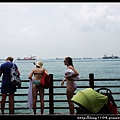 新加坡。聖淘沙海灘火車。亞洲最南端