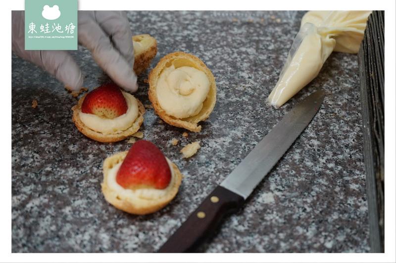 【台北士林區市場美食】現場製作草莓泡芙 東森電視台推薦 孔明堂