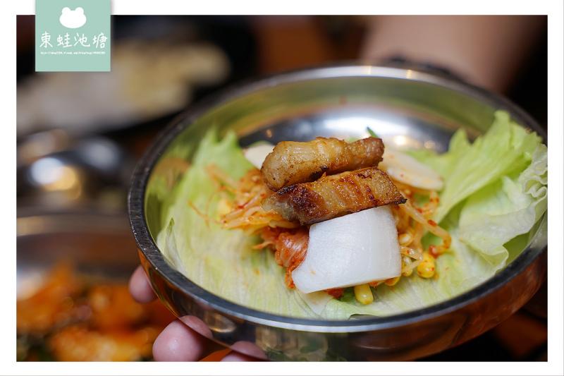 【竹北韓式料理居酒屋推薦】超美味雙人燒肉套餐 道地韓式雪花烤腸馬鈴薯排骨湯 娘子韓食燒肉店-娘子居食屋
