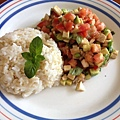 用陽台種的甜蘿勒、蔥、薄荷做的午餐