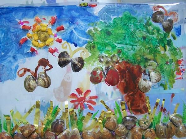 蛤蠣殼綜合媒材貼畫