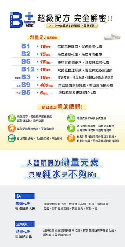高劑量維生素B群和礦物質