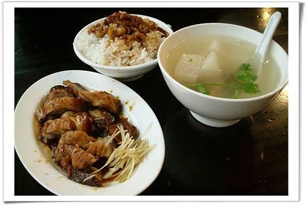 滷肉飯、菜頭湯、蹄膀