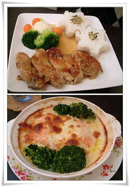 主餐烤雞腿及海鮮千層麵