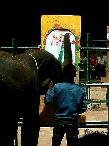 大象畫畫很可愛