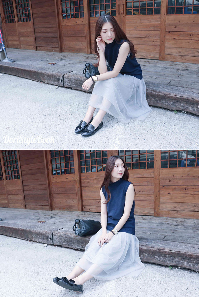 STRMIMI 秋冬小高領針織 X Peachy 灰色紗裙/ 倔強朵力/朵力/doristylebook