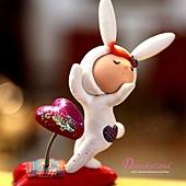 愛的飛吻兔紅心紙鎮C