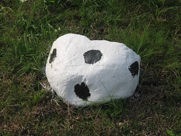 運用巧思,將路旁的石頭上色,黑白相間,像是小乳牛.JPG