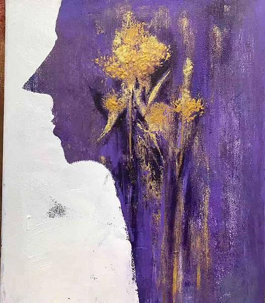 女人如花似夢,在虛寶空間的運用,浪漫紫色跟金色互相襯托出女人更顯得貴氣和福氣!(王迎春畫作).jpg