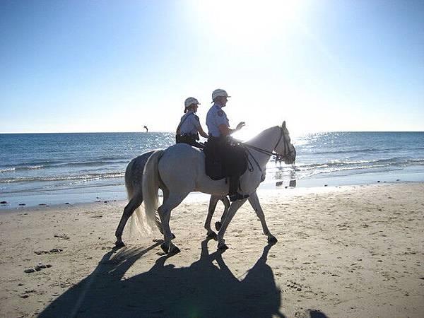 第二天大家悠閒的到海邊散步,海邊的警衛倒挺特別