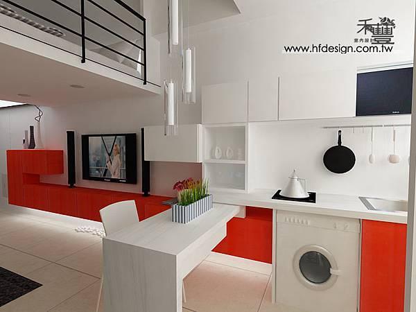 電視造型牆與廚具