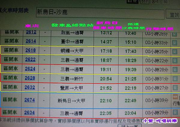 新烏日-沙鹿火車時刻表.jpg