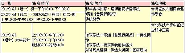 佐欽大圓滿 台灣祈願大法會 行程表