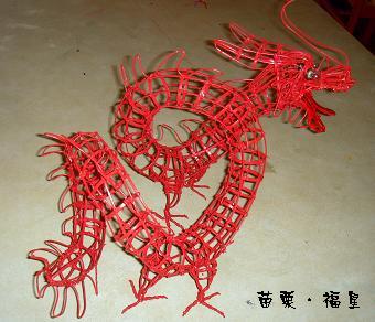 竹編紅色小龍