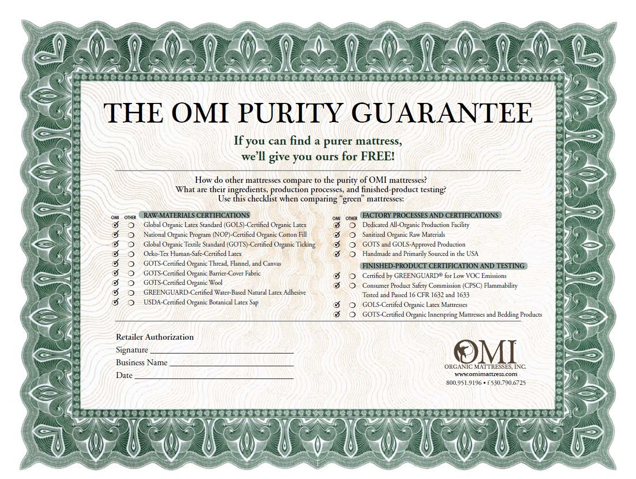 OMI Purity Guarantee