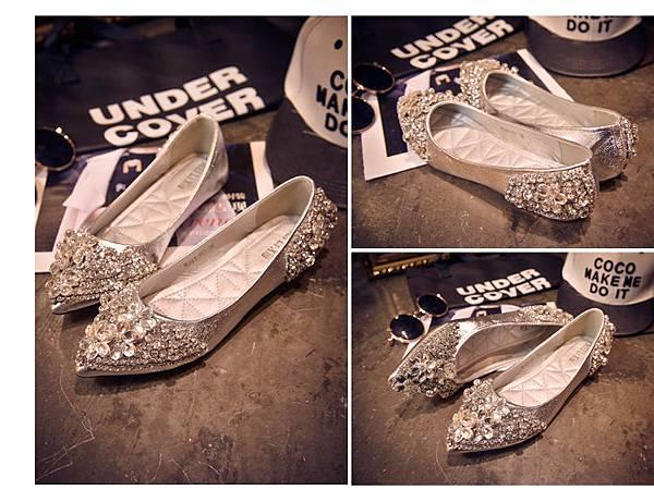 平底尖頭婚鞋