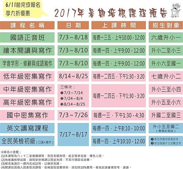 106年暑期預告