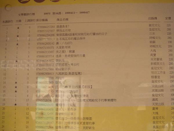 金石堂2011.4月週排行榜