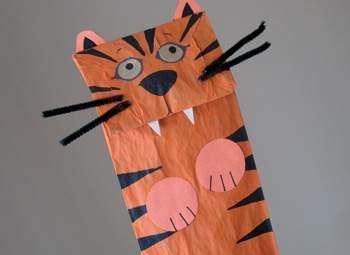 Tiger Paper Bag Puppet