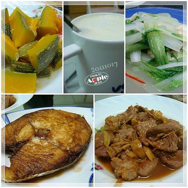 香煎土魠魚+炒肉片+清蒸南瓜+炒白菜。