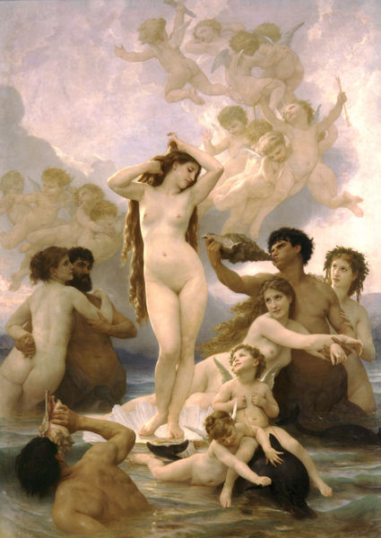 /><br/> 其實這張的構圖跟拉斐爾1513年的Triumph of Galatea很像,而法國學院派的題材又跟短命的卡拉瓦喬(1571-1610)很接近,以致於當今的美術史、藝術理論又這個美術流派興趣缺缺(唉,美術史只討論先驅者的作品),不過,這類漂漂亮亮的作品可是讓我看了心情相當愉快。<br /><br /><img src=