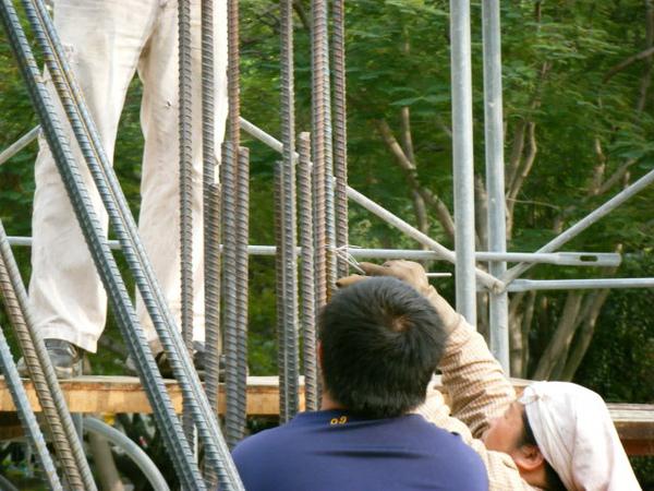 091217-一樓頂板養護5.6及二樓柱鋼筋08