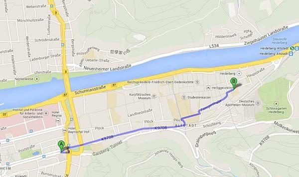 飯店和海德堡距離圖
